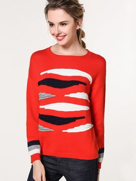 Ericdress Color Block Stripped Casual Knitwear