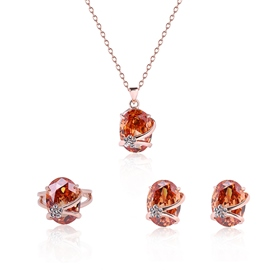 Ericdress Zircon Inlaid Three-Pieces Rose Gold Jewelry Set