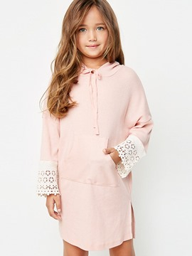 Ericdress Lace Plain Hooded Dress