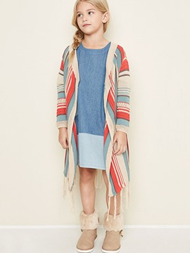 Ericdress Ethnic Stripe V-Neck Cardigan Girls Sweater
