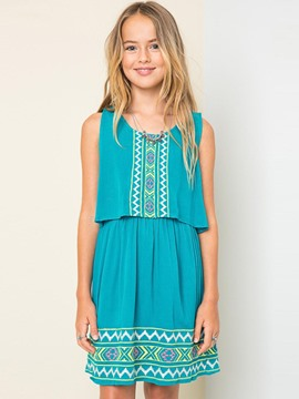 Ericdress Embroidery Sleeveless Bohemian Girls Dress