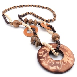 Ericdress Round Wood Carving Long Beading Necklace