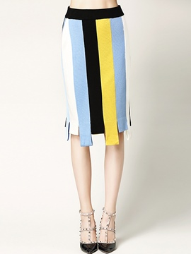 Ericdress Color Block Asymmetric Mini Skirt