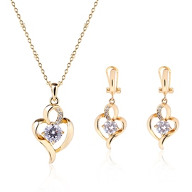 Ericdress Gold Heart-Shaped Diamante Two-Pieces Jewelry Set