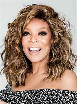 Ericdress Wendy Williams Medium Messy Loose Curly Human Hair Lace Front Cap Wigs 14 Inches