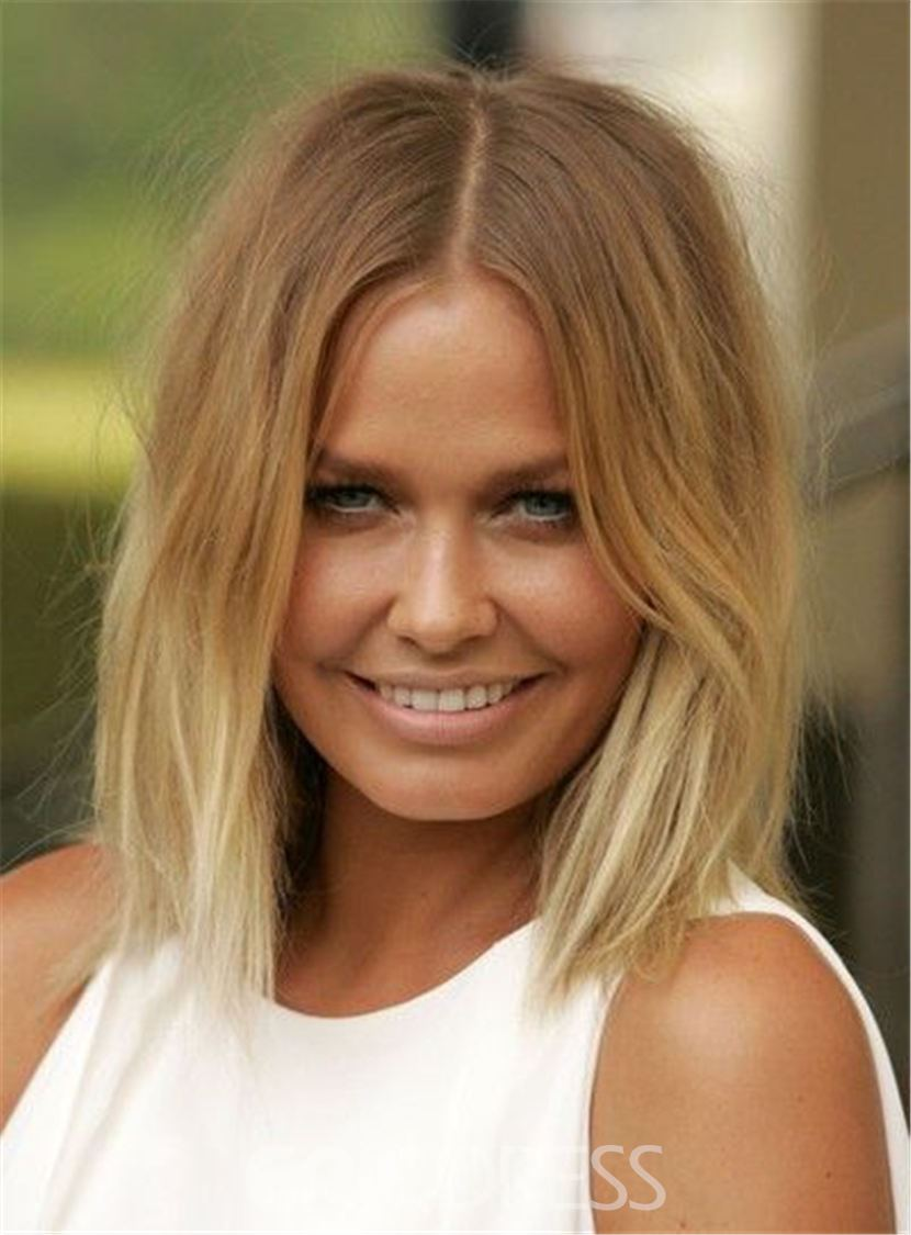 Ericdress Blunt Cut Lob Brown Root Blonde Medium Straight Messy Synthetic Hair Lace Front Cap Wigs 12 Inches 12797988