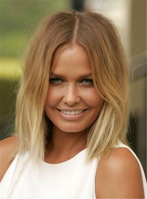 Ericdress Blunt Cut Lob Brown Root Blonde Medium Straight Messy Synthetic Hair Lace Front Cap Wigs 12 Inches