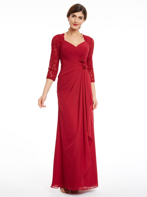 Ericdress Sheath Lace 3/4 Sleeve Ruched Evening Dress