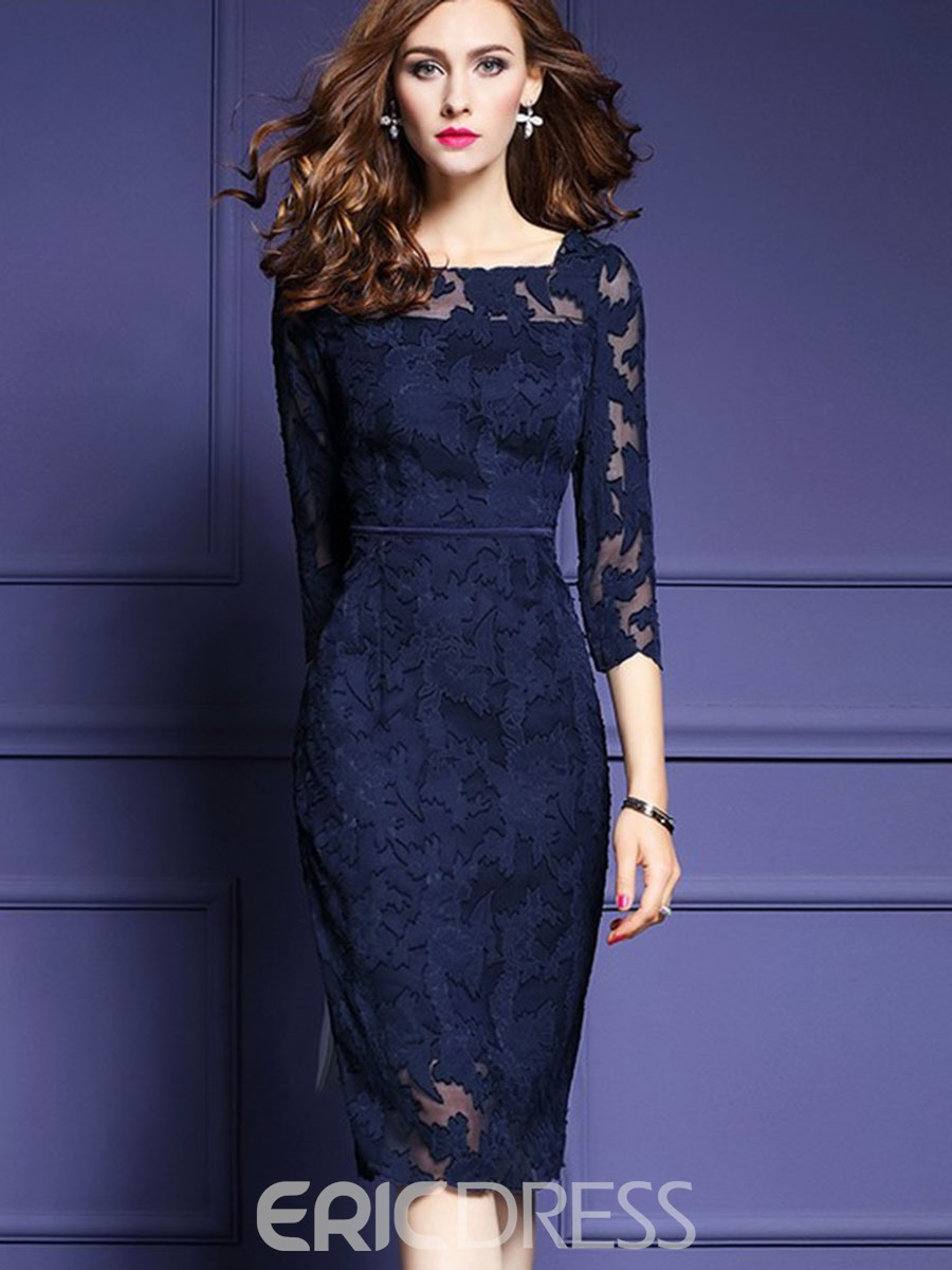 e67894293 Ericdress Square Neck Mesh Patchwork Knee-Length Lace Dress