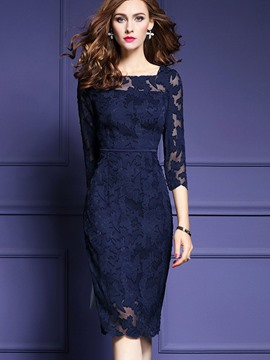 Ericdress Square Neck Mesh Patchwork Knee-Length Lace Dress