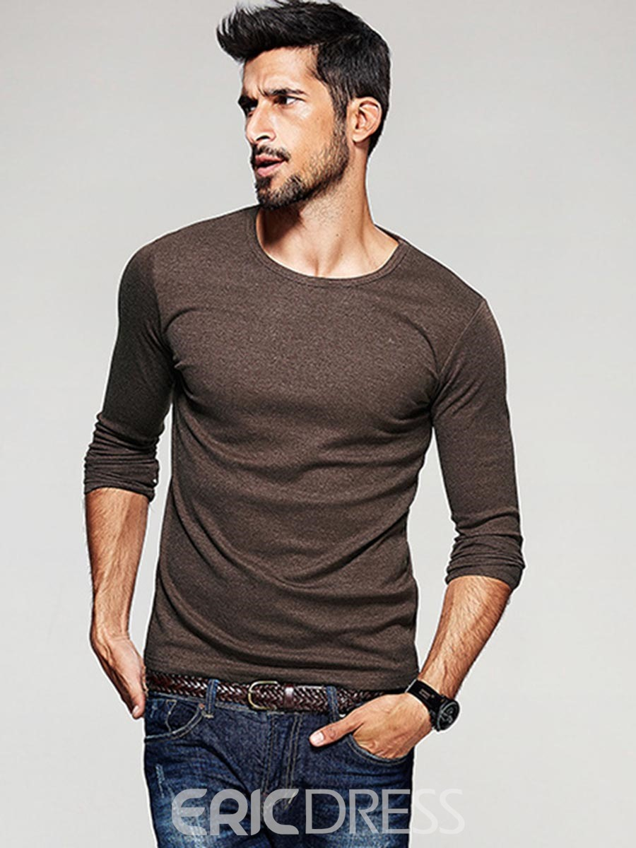 Ericdress Solid Color Long Sleeve Crew Neck Mens T-shirt