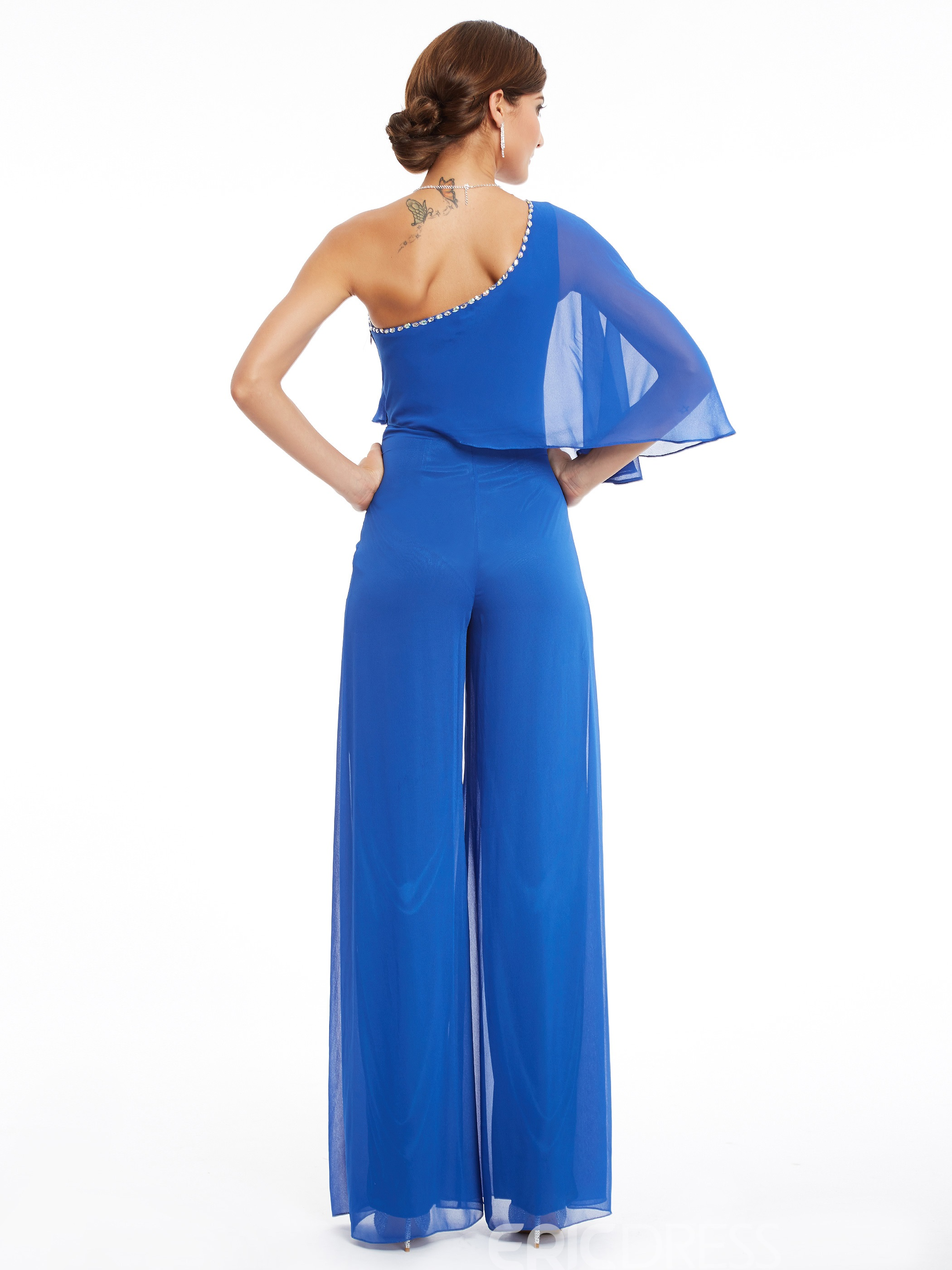 Ericdress One Shoulder Beading Chiffon Long Jumpsuit
