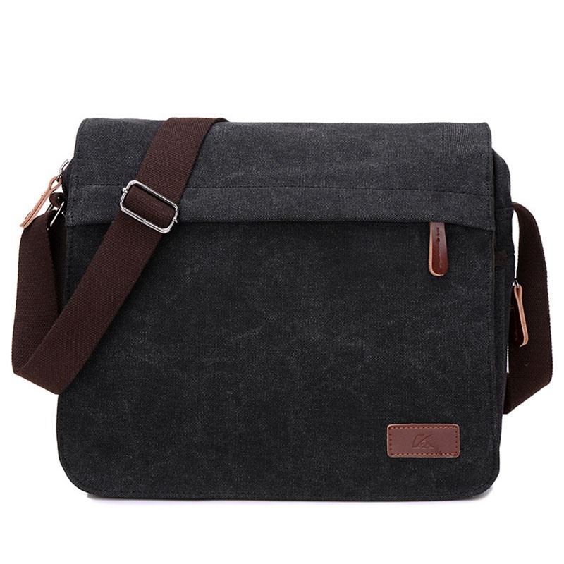Ericdress Vintage Solid Color Canvas Men's Shoulder Bag