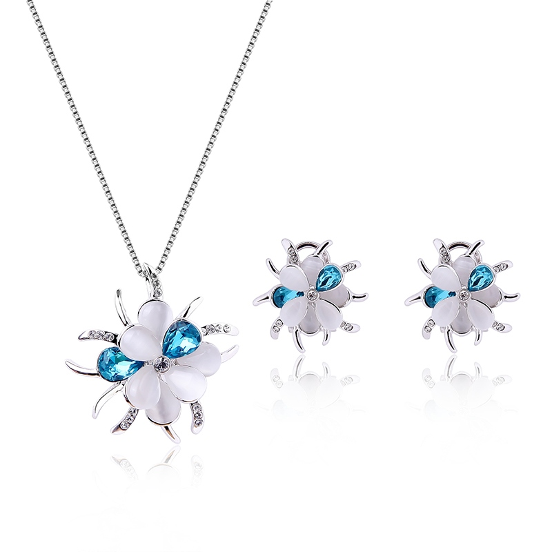 Ericdress Blue and White Flower Two-Pieces Jewelry Set