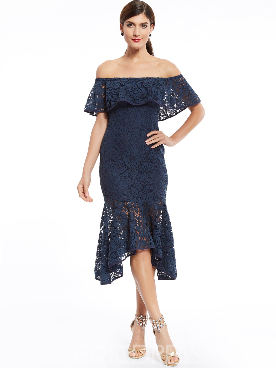 Ericdress Off-The-Shoulder Lace Mermaid Evening Dress