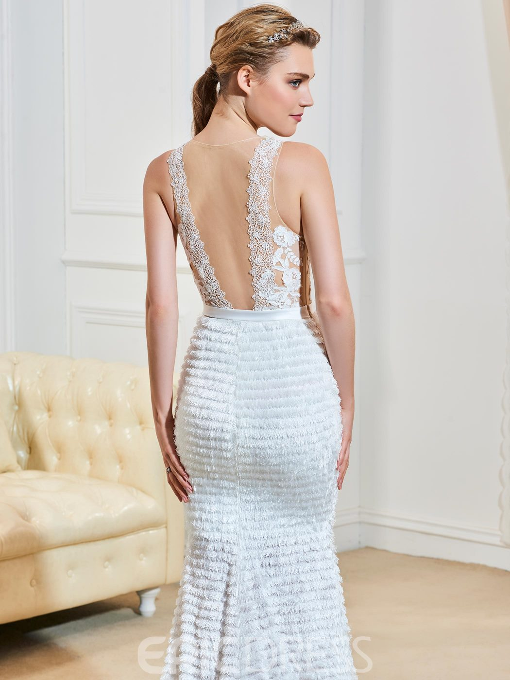 Ericdress Sexy Illusion Neckline Backless Mermaid Lace Wedding Dress