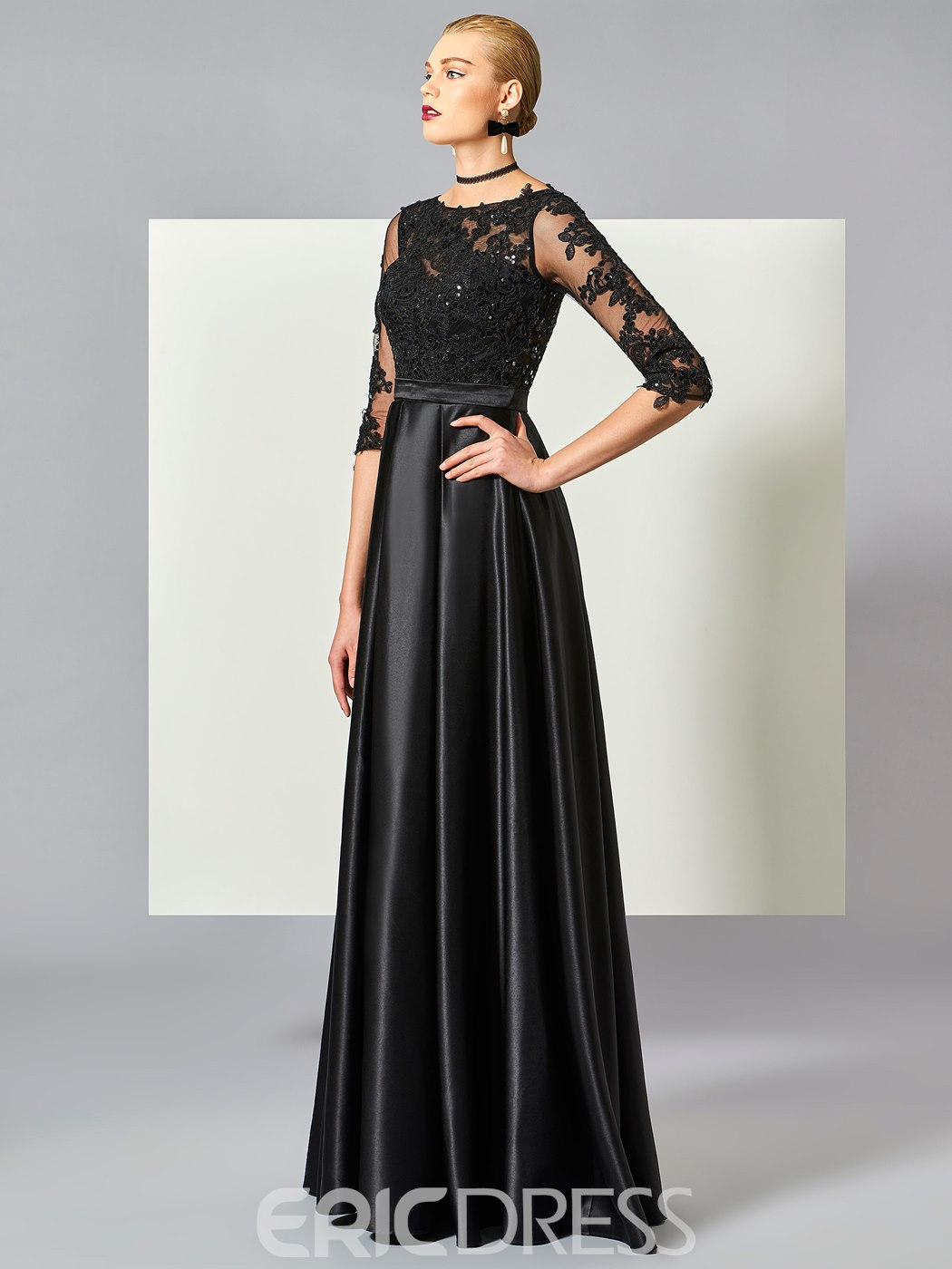 Ericdress A Line Half Sleeve Lace Applique Beaded Long Evening Dress