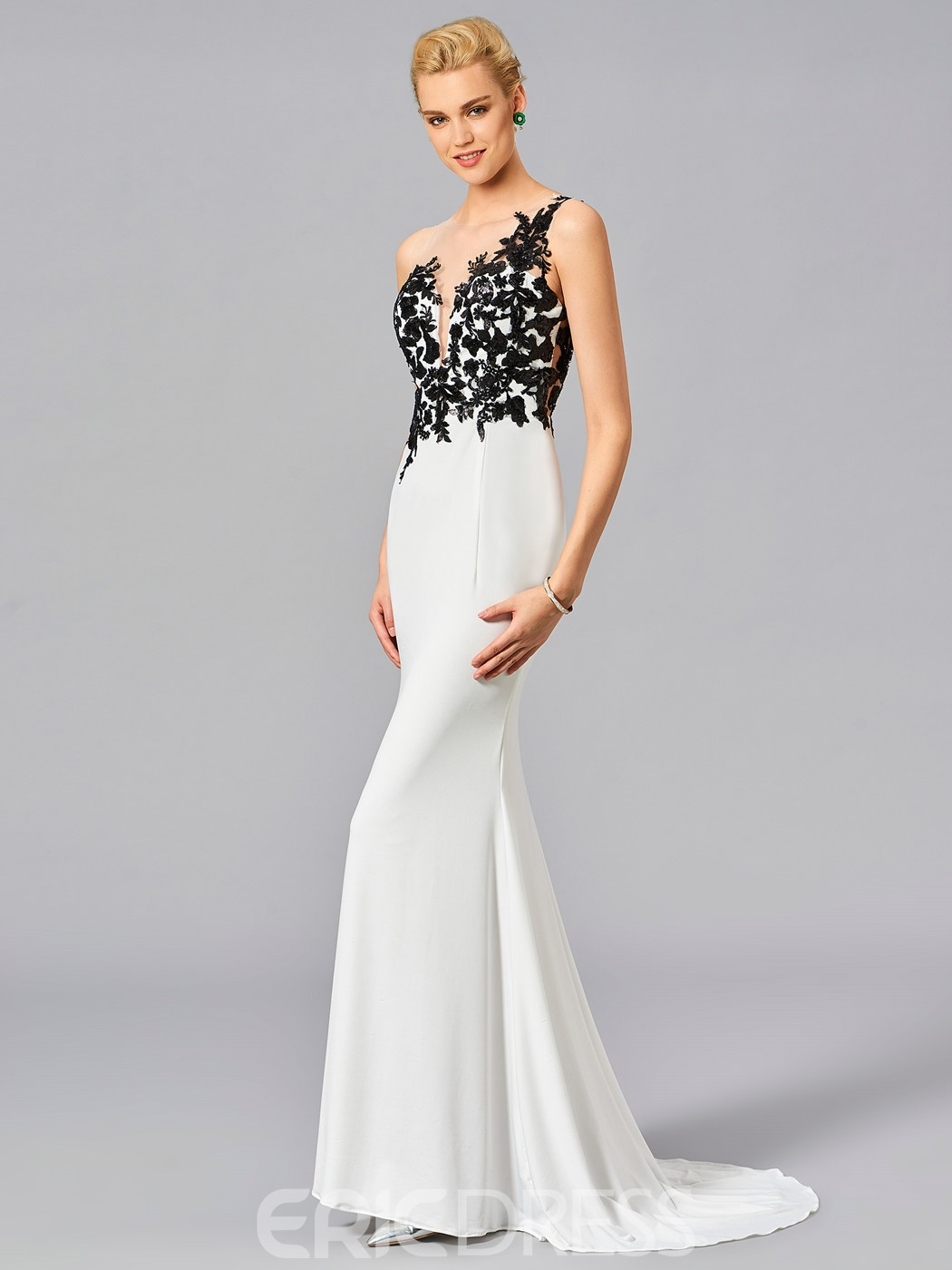 Ericdress Contrast Color Lace Applique Floor Length Long Mermaid Evening Dress