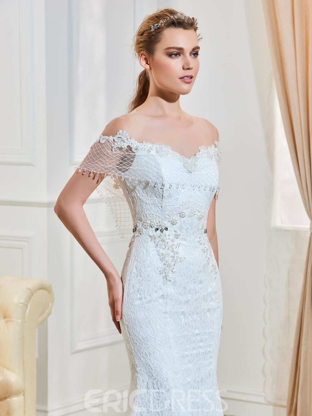 Ericdress Illusion Neckline Beaded Backless Mermaid Lace Wedding Dress