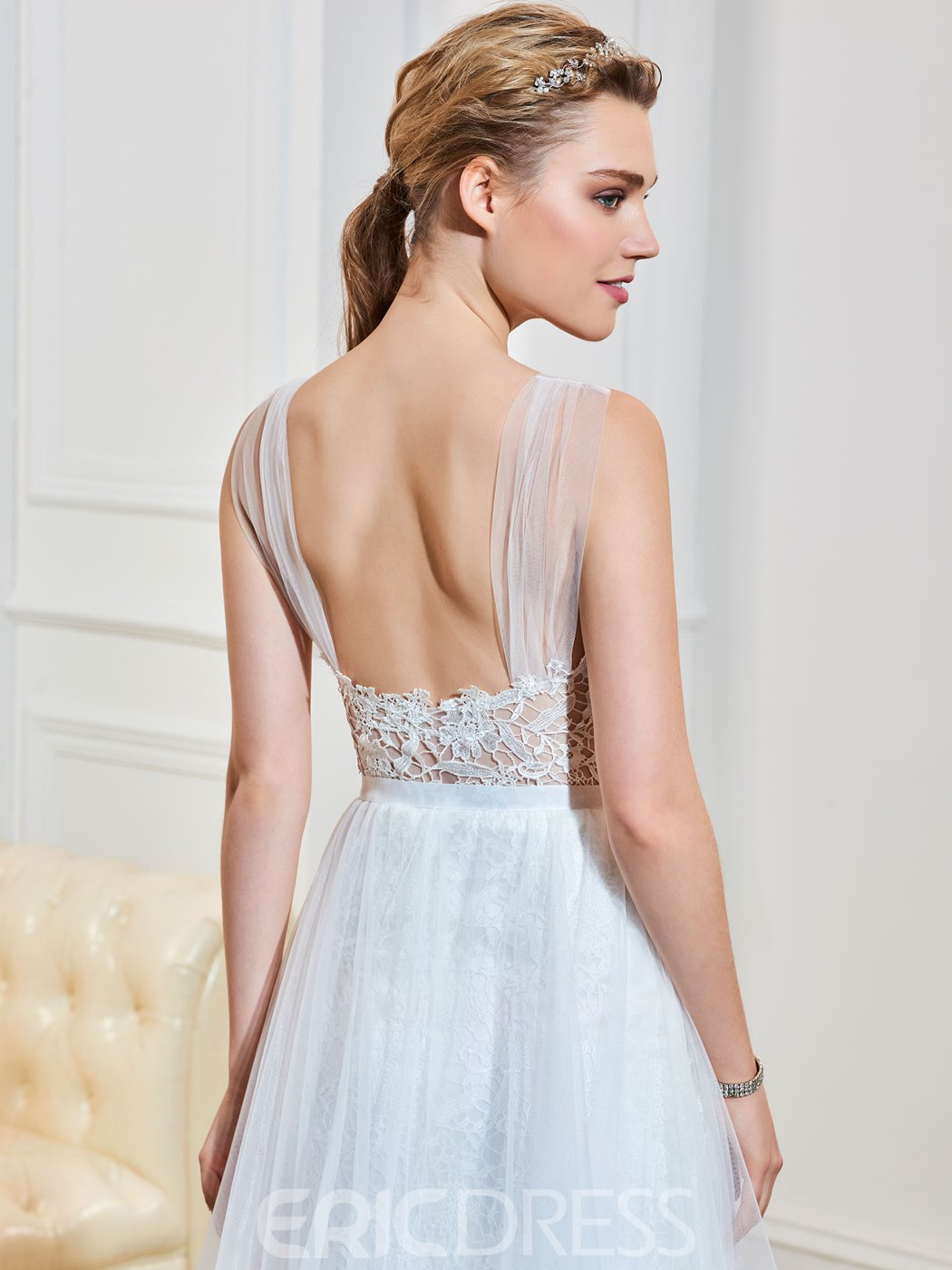 Casual Illusion Neckline Backless A Line Wedding Dress