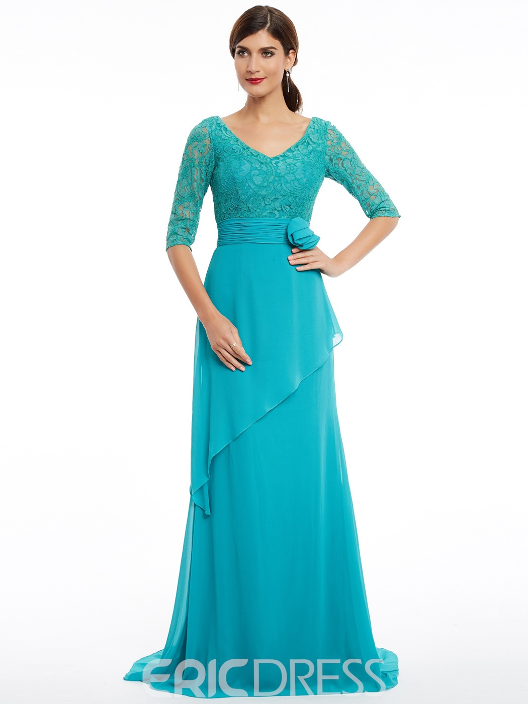 Ericdress A Line V Neck Half Sleeves Long Evening Dress