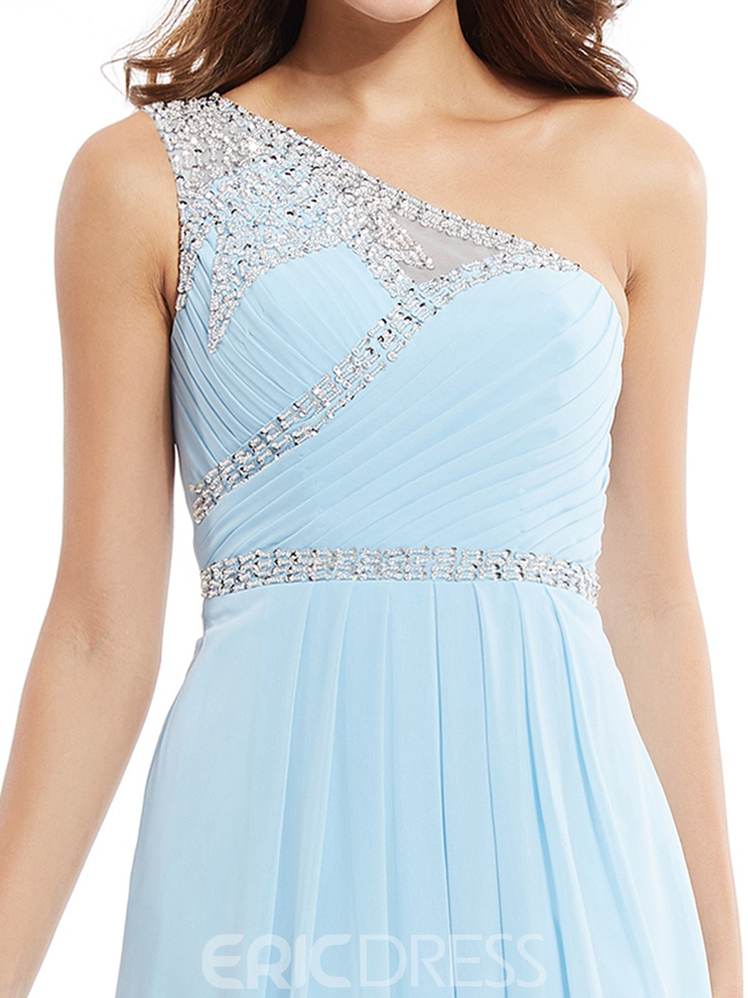 Ericdress One Shoulder Zipper-Up Beaded A Line Long Prom Dress