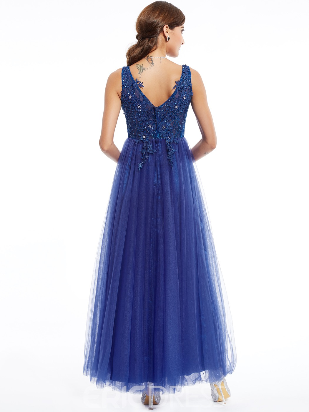 Ericdress V Neck Beaded Appliques A Line Evening Dress