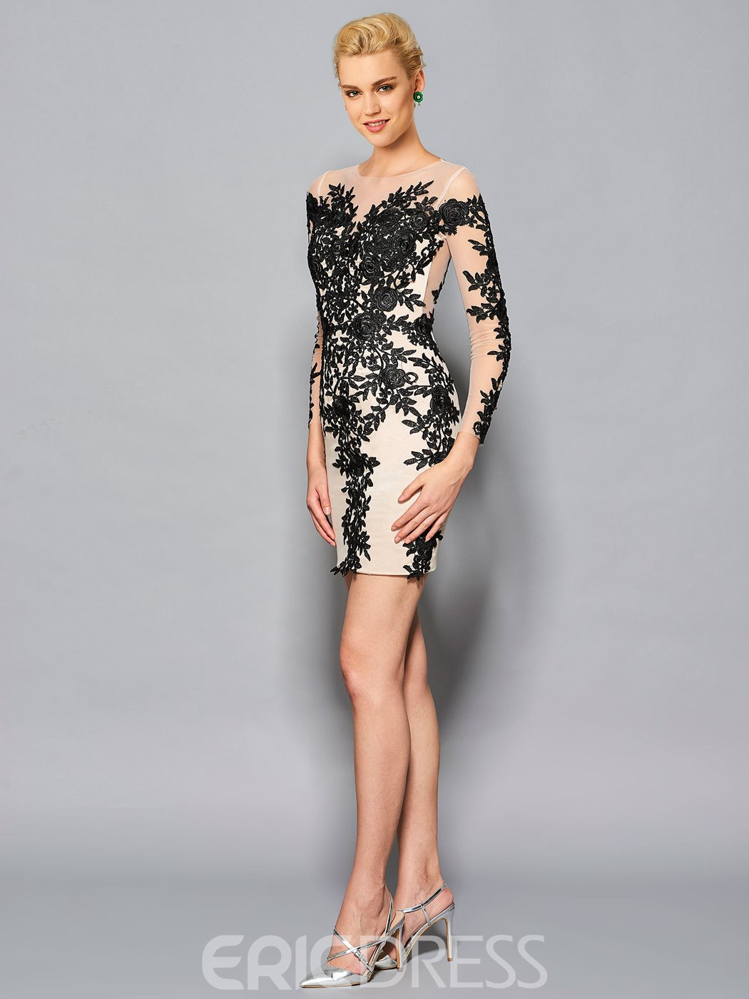 Ericdress Sheath Round Neck Long Sleeves Appliques Lace Knee-Length Cocktail Dress