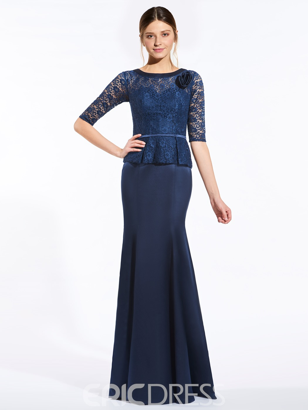 Elegant Scoop Half Sleeves Lace Mermaid Bridesmaid Dress