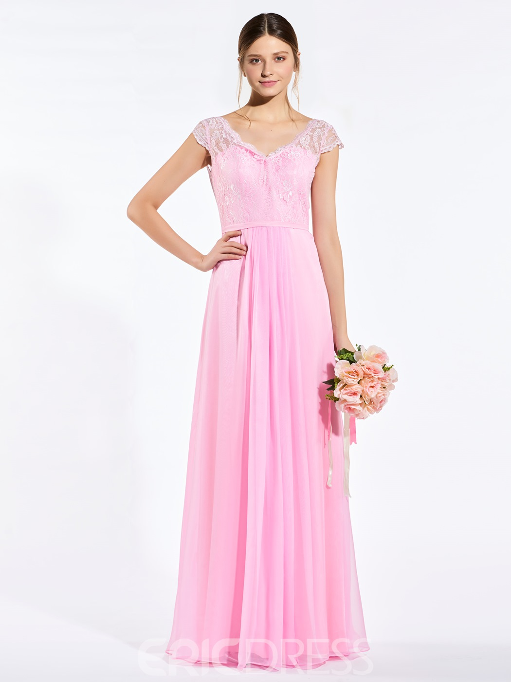 Ericdress V Neck Cap Sleeves Lace Bridesmaid Dress