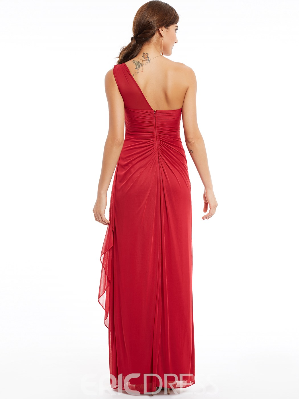 Ericdress One Shoulder Zipper-Up Pleats Long Evening Dress