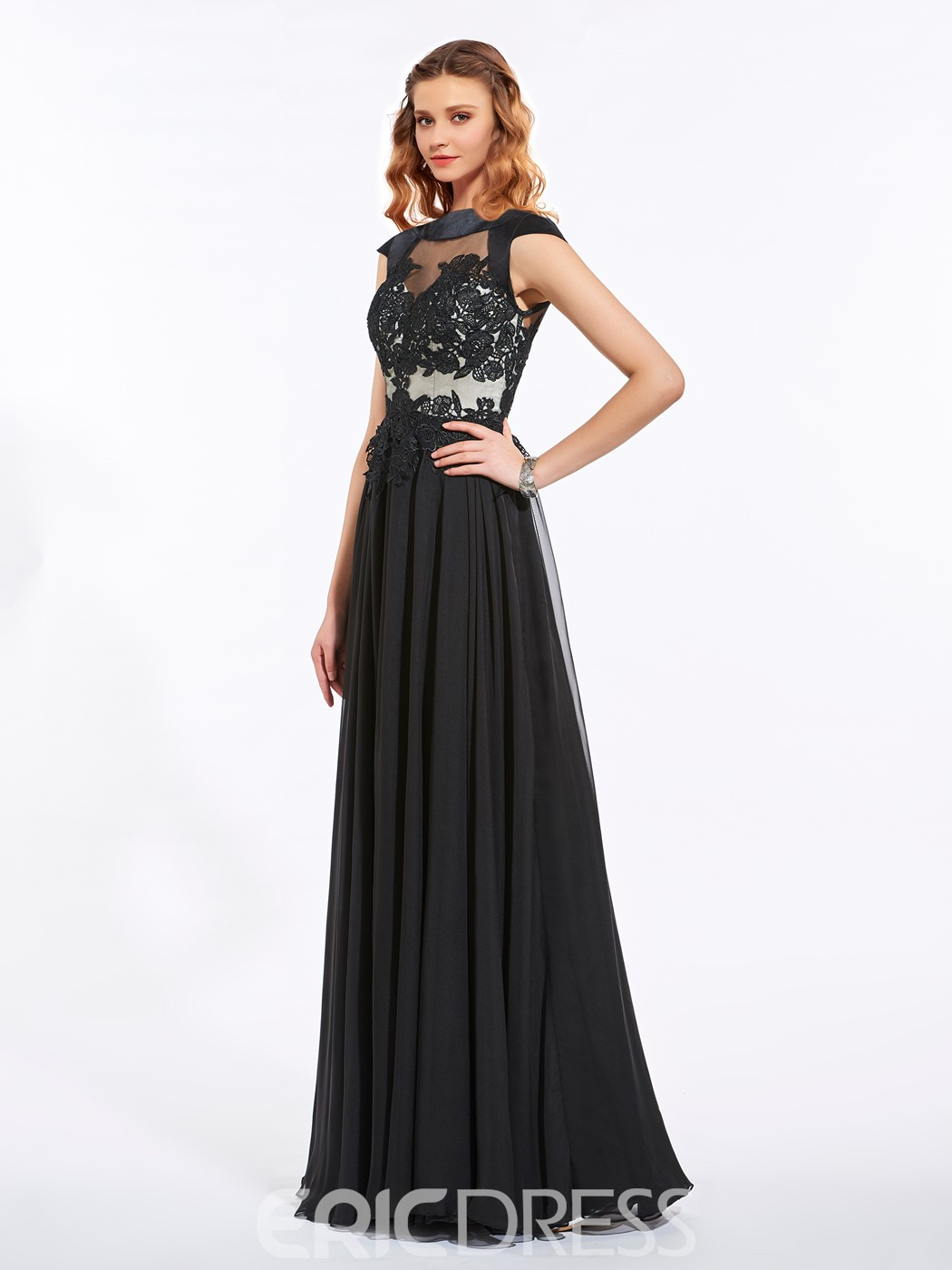Ericdress A-Line Cap Sleeves Appliques Long Prom Dress With Zipper-Up Back