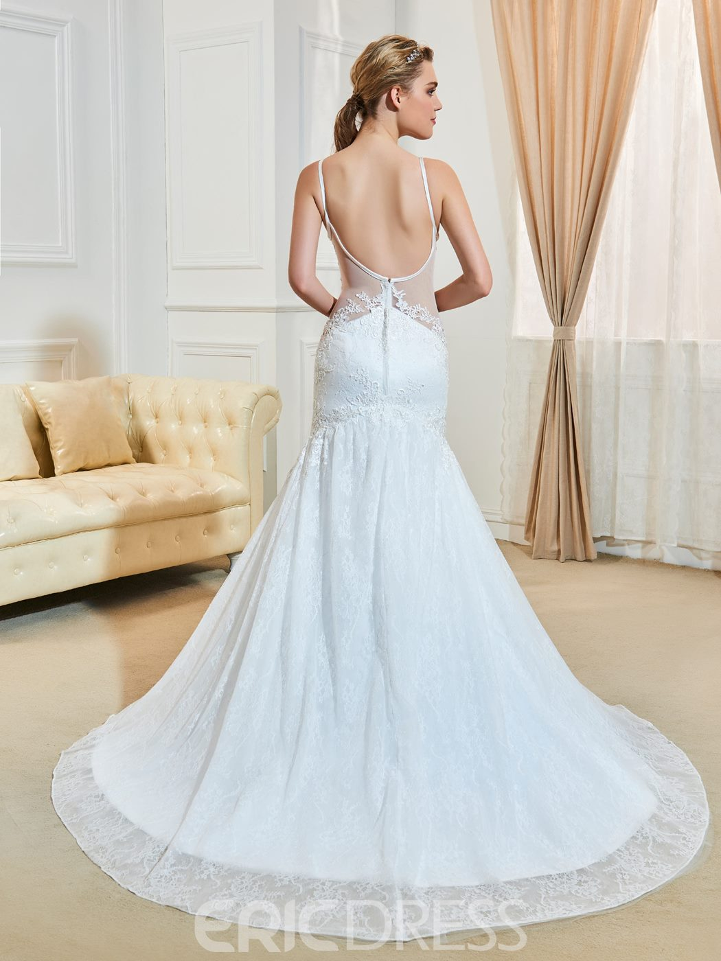 Sexy V Neck Backless Mermaid Lace Wedding Dress