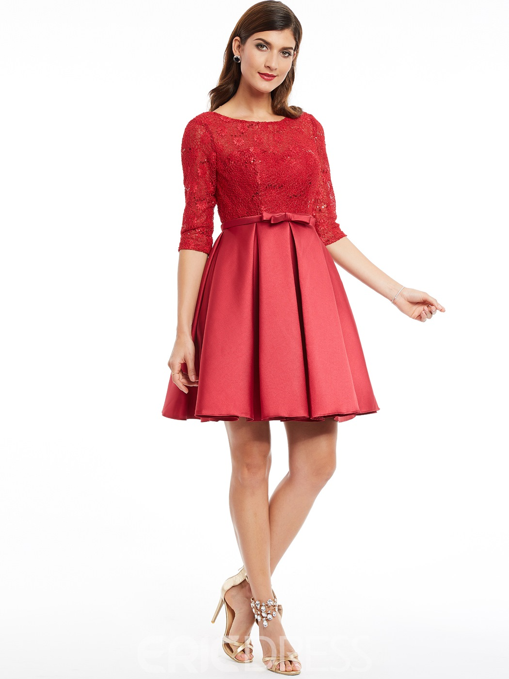 Ericdress Scoop Neck Half Sleeve Lace-Up A Line Cocktail Dress
