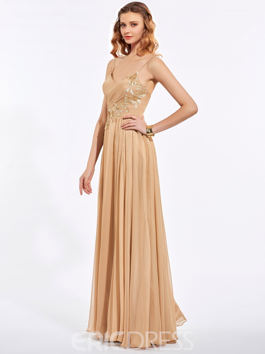 Ericdress A Line Spaghetti Straps Sequin Applique Floor Length Long Prom Dress