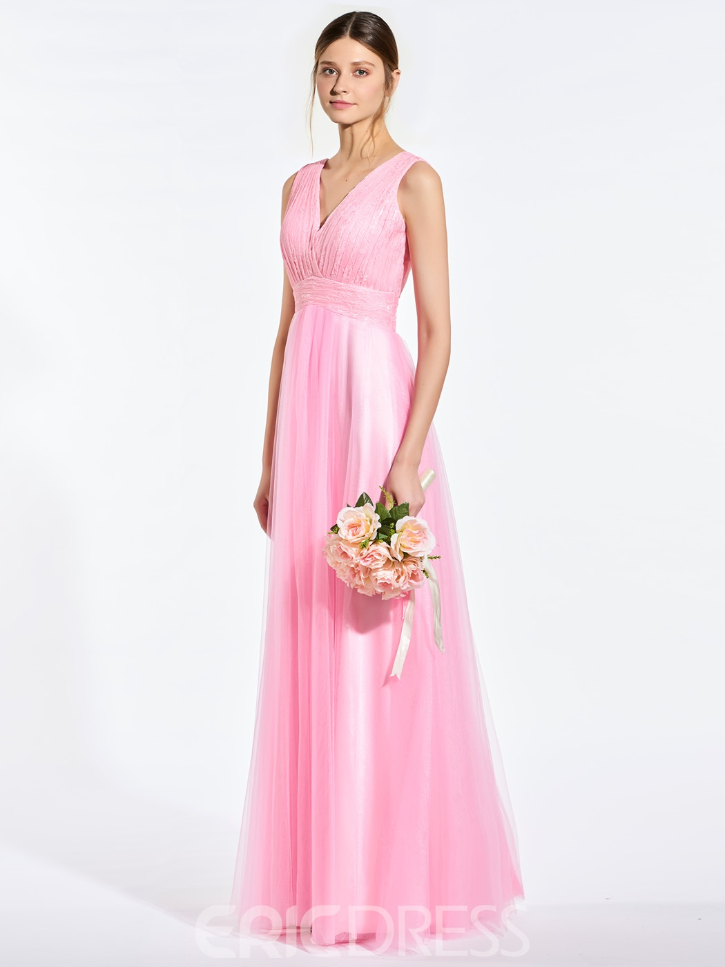 Pretty V Neck Lace A Line Long Bridesmaid Dress