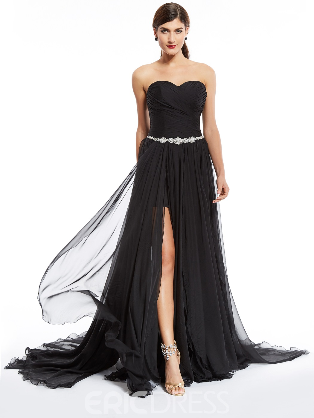 Ericdress Sweetheart Zipper-Up Split-Front Floor-Length Evening Dress