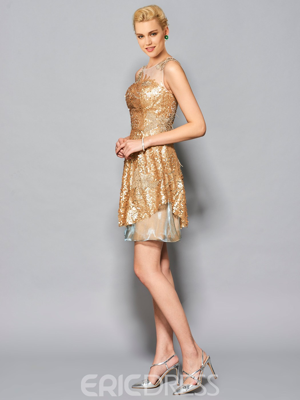 ericdress étourdit un col sequin robe de cocktail en ligne applique scoop