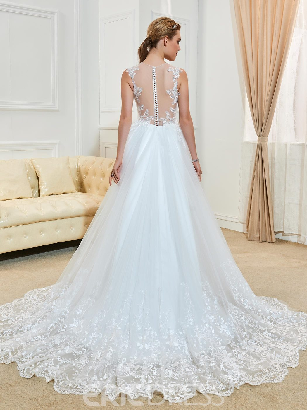 Charming Illusion Neckline Appliques A Line Asymmetry Wedding Dress