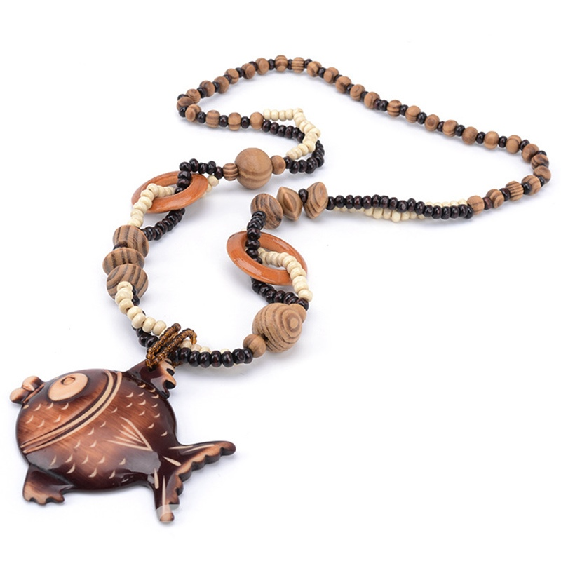 Ericdress Wooden Fish Pendant Beading Necklace