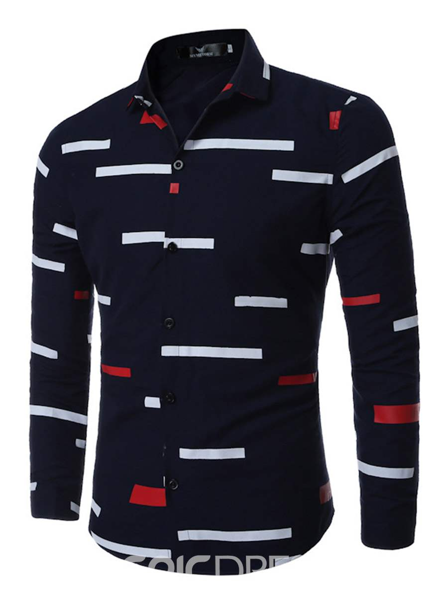 Ericdress Unique Color Block Stripe Men's Shirt