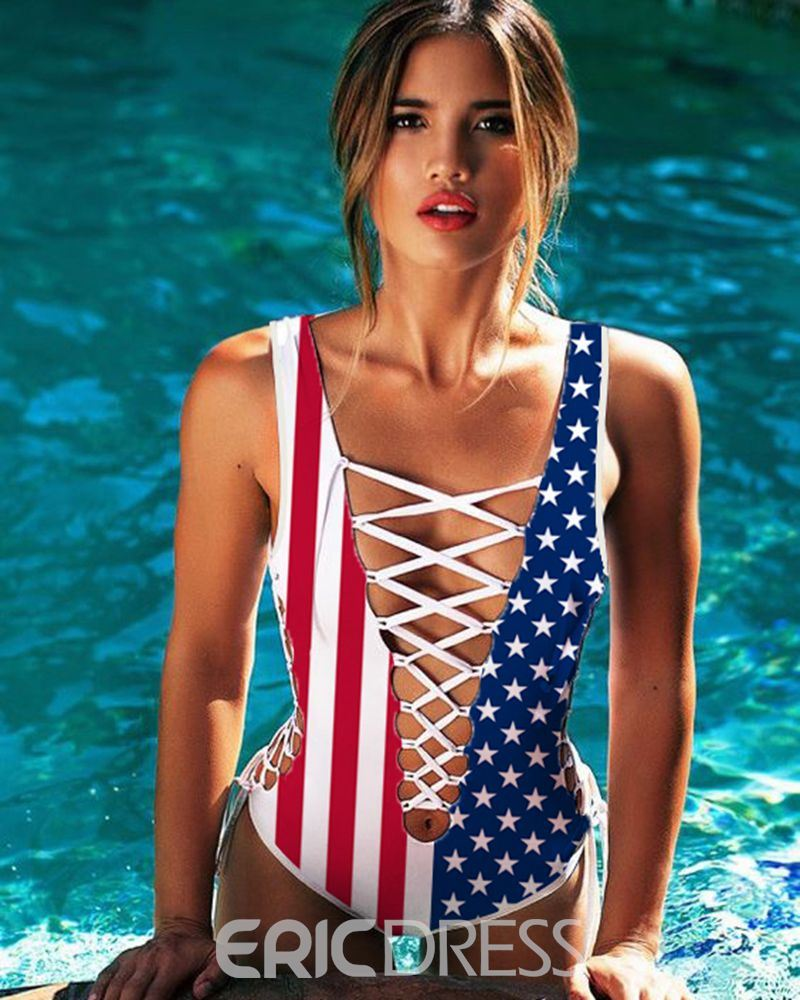 f1106c6f88ec Ericdress Sexy American Flag Pattern Print Hollow One Piece Swimwear (12842397)
