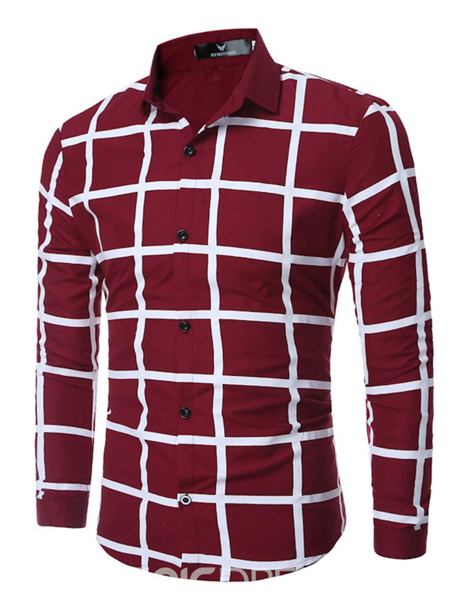 Ericdress Cross Big Plaid Long Sleeve Men's Shirt