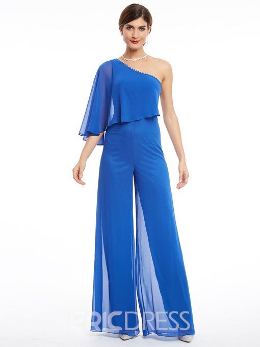 Ericdress One Shoulder Beading Chiffon Long Prom Jumpsuit