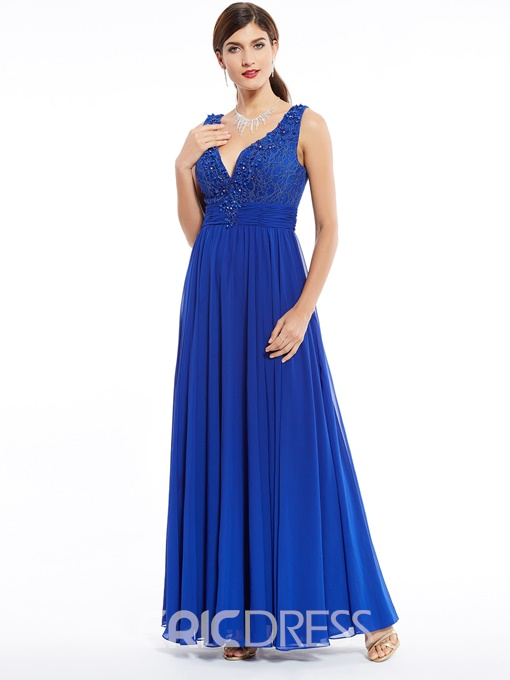 Ericdress V Neck Zipper-Up A Line Evening Dress With Beadings And Appliques
