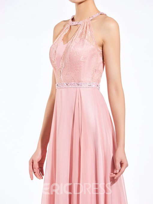 Ericdress Popular Halter Beaded Lace Long Bridesmaid Dress