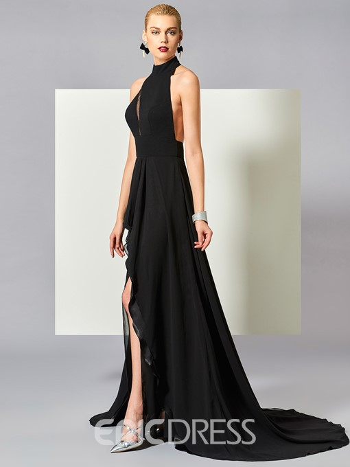 Ericdress A-Line Sleeveless Halter Backless Court Train Evening Dress