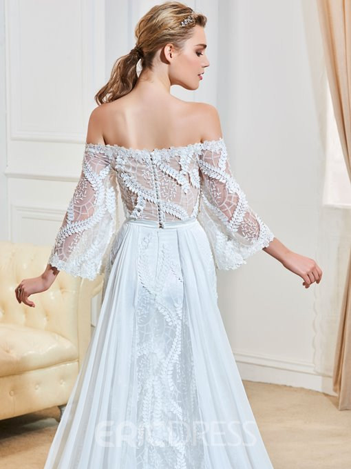 Ericdress Elegant Off The Shoulder A Line Lace Wedding Dress