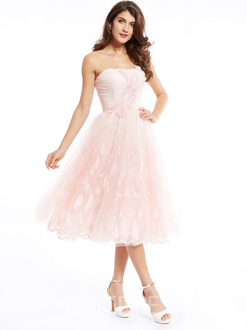 Ericdress A Line StrapLess Zipper-Up Appliques Tea-Length Prom Dress