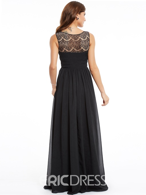 Ericdress A Line V Neck Chiffon Long Evening Dress In Floor Length